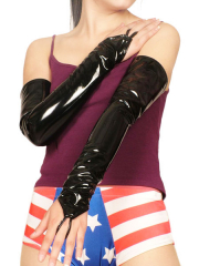Black Sexy PVC Ring Gloves