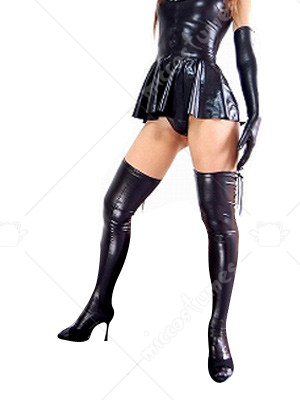 Black Shiny Metallic Bowknot Mini Skirt Suit