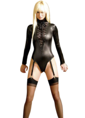 Black Shiny Metallic Front Lace Tie Catsuit