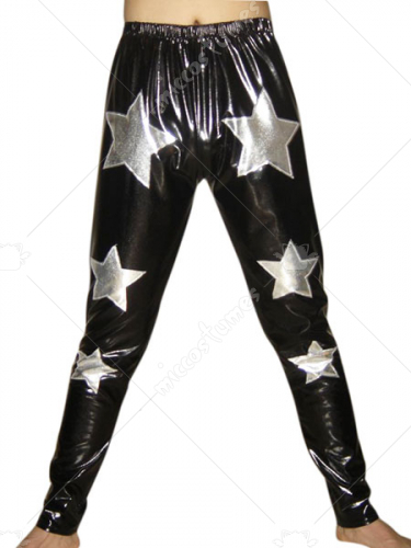 Black Shiny Metallic Pants With Silver Star Decoration