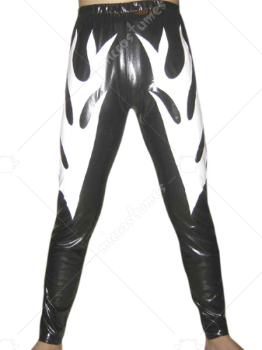 Black Shiny Metallic Pants With White Fire Decoration