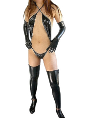 Black Shiny Metallic Sexy Costume