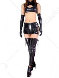 Black Shiny Metallic Sexy Four Set Costume