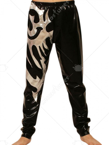 Black Silver Pattern PVC Pants