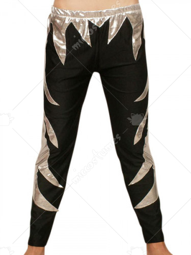 Black Silver Pattern Shiny Metallic Pants