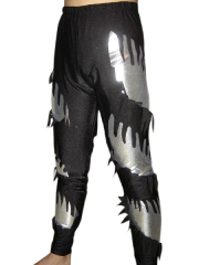 Black Silver Shiny Metallic Pants