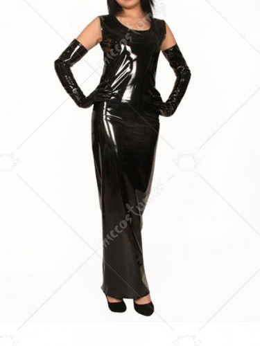 Black Sleeveless Round Neck Shiny Metallic Dress