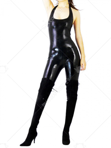 Black Sleeveless Shiny Metallic Unisex Catsuit