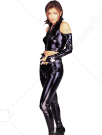 Black Two Pieces Shiny Metallic Catsuit