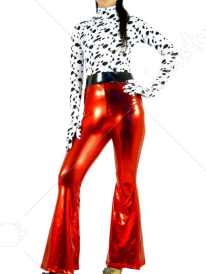 Black White And Red Lycra Spandex Shiny Metallic Catsuit