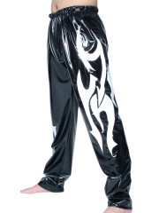 Black White Pattern PVC Pants
