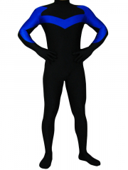 Black With Blue Lycra Spandex Zentai Costume