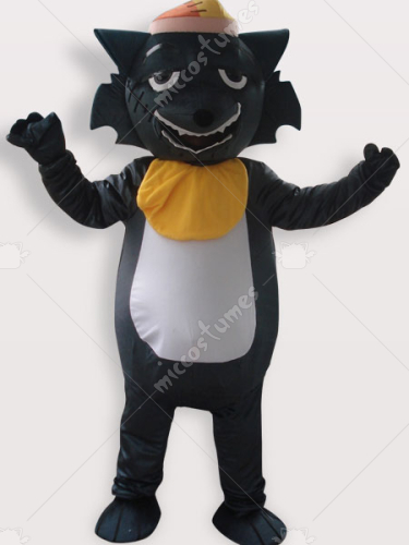 Black Wolf Short Plush Adult Mascot Costume