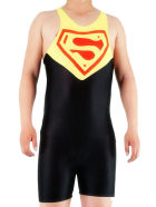 Black Yellow And Red Lycra Spandex Superman Super Hero Catsuit