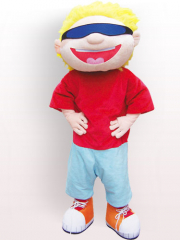 Blond Hair Boy Plush Adult Mascot Costume