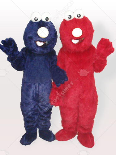Blue and Red Fur Man Adult Mascot Costume