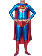 Blue And Red Super Man Shiny Metallic Super Hero Catsuit
