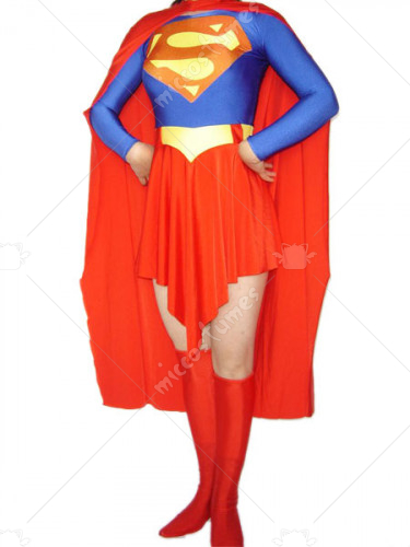 Blue And Red Super Woman Lycra Spandex Super Hero Catsuit
