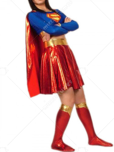 Blue And Red Super Women Shiny Metallic Super Hero Catsuit