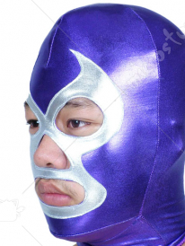 Blue And Silver Open Eye And Mouth Shiny Metallic Hood