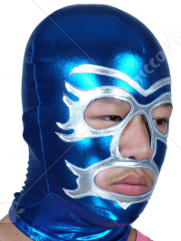 Blue And Silver Open Eye And Mouth Spandex Hood