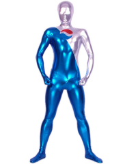 Blue And Silver Shiny Metallic Zentai Suit