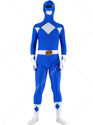 Blue And White Lycra Spandex Unisex Super Hero Zentai Suit