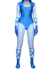 Blue And White Lycra Spandex Zentai Catuit