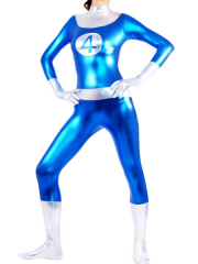 Blue And White Shiny Metallic Unisex Catsuit
