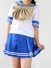 Blue And White Short Sleeves Sailor School Uniform