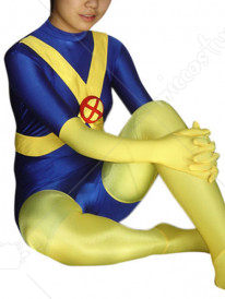 Blue And Yellow Lycra Spandex Catsuit