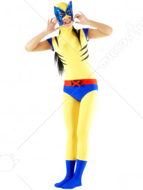 Blue And Yellow Lycra Spandex Unisex Catsuit