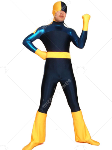 Blue And Yellow Lycra Spandex Unisex Zentai Suit