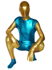 Blue And Yellow Unisex Shiny Metallic Zentai Suit