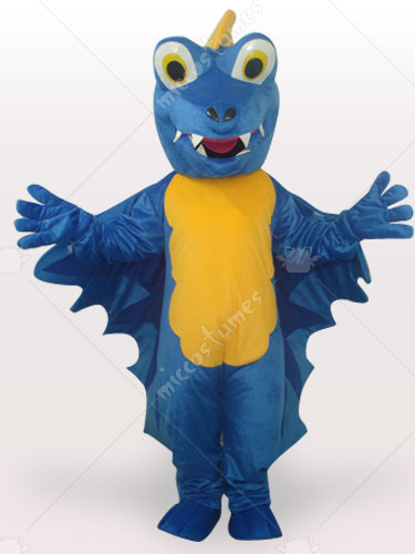 Blue Dinosaur Short Plush Adult Mascot Costume