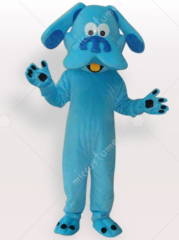 Blue Dog Short Plush Adult Mascot Costume