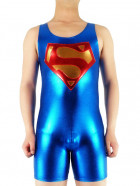 Blue Gold And Red Shiny Metallic Superman Super Hero Catsuit