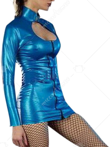Blue Long Sleeves Shiny Metallic Catsuit