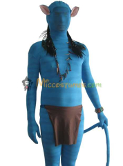 Blue Lycra Spandex Avatar Jake Sully Adult Costume
