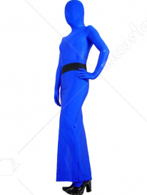 Blue Lycra Spandex Zentai Suit With Skirt Attached