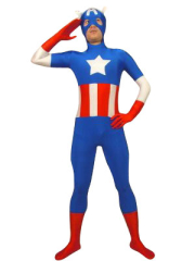 Blue Lycra Super Hero Costume