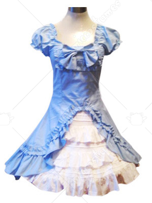 Blue Puff Sleeves Lolita Cosplay Dress