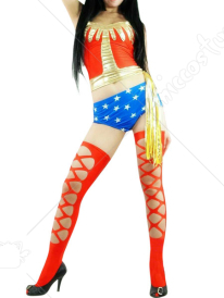 Blue Red And Gold Shiny Metallic Catsuit With Panty And Stocking