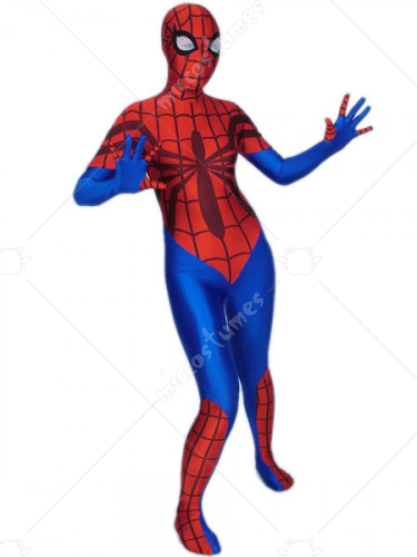 Blue Red Spider Woman Spandex Lycra Zentai Suit