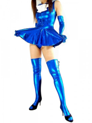 Blue Shiny Metallic Bowknot Mini Skirt Suit