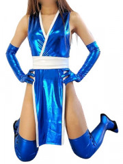 Blue Shiny Metallic Sexy Costume
