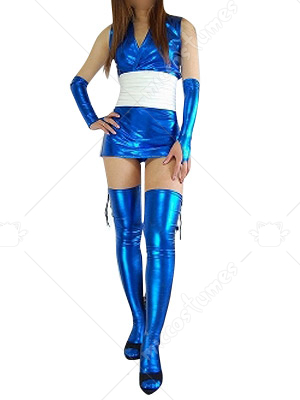 Blue Shiny Metallic Sexy Dress