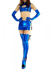 Blue Shiny Metallic Sexy Four Set Costume