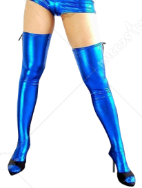 Blue Shiny Metallic Sexy Stocking