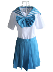 Blue Short Sleeves Sailor Japanese School Uniform